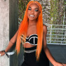 #Orange Lace Front Human Wigs Short Bob Straight Lace Wigs