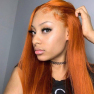200% Density #Orange Color Straight Lace Wigs