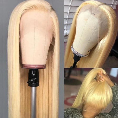 200% Density #613 Blonde Straight Lace Wigs