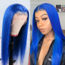 200% Density #Blue Color Straight Lace Wigs
