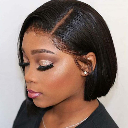 200% Density #1B Natural Black Color Short Bob Straight Lace Wigs