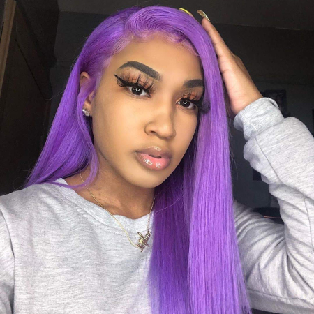 200% Density #Purple Color Straight Lace Wigs