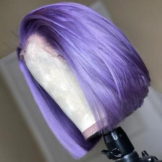 200% Density #Purple Color Short Bob Straight Lace Wigs