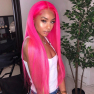 200% Density #Pink Color Straight Lace Wigs
