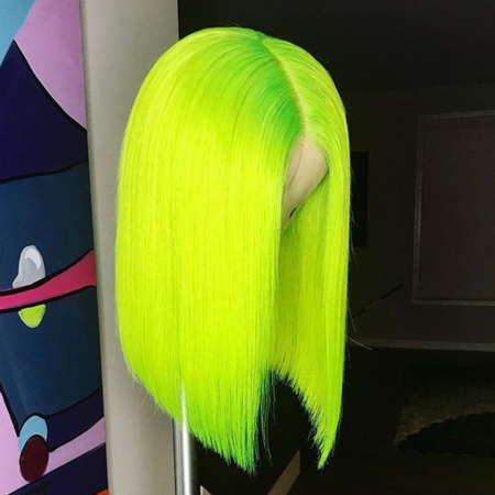 200% Density #Green Color Short Bob Straight Lace Wigs