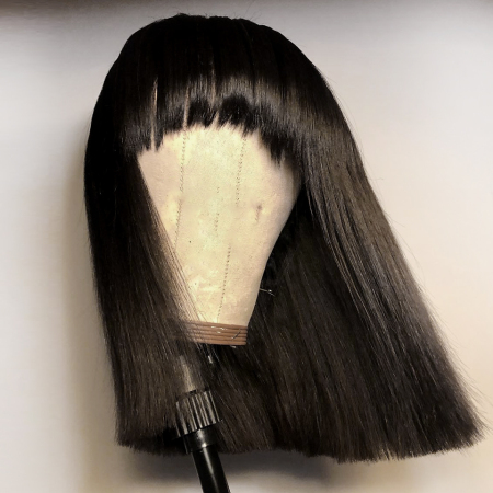200% Density #Bangs Natural Black Color Short Bob Straight Lace Wigs