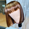 200% Density #L30/27 Colored Short Bangs Bob Straight Lace Wigs