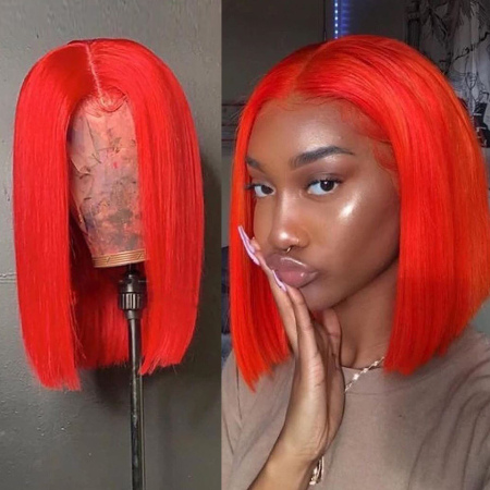 200% Density #Orange Red Color BOB Lace Wigs