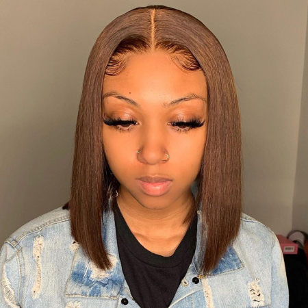 200% Density #30 Colored Short Bob Straight Lace Wigs