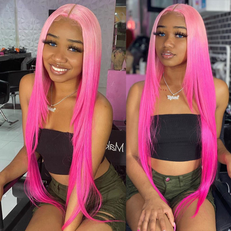 200% Density  Cherry pink Straight Lace Wigs