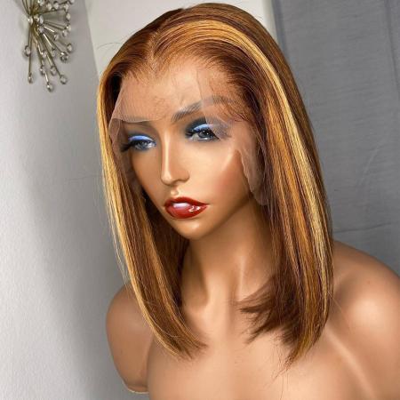 200% Density #L27/30 Colored Short Bob Straight Lace Wigs