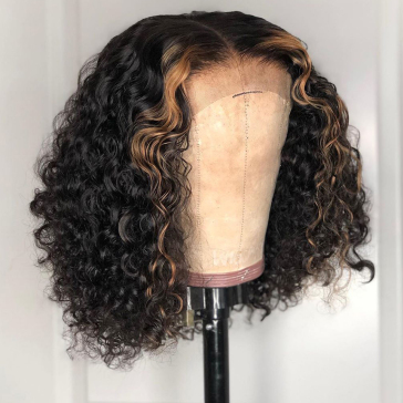 200% Density Omber #27 Short Curly Bob Straight Lace Wigs