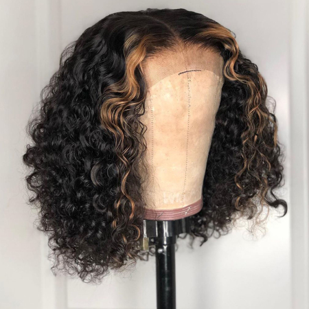 200% Density Omber #27 Short Curly Bob Lace Wigs