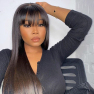 200% Density Bangs Straight Lace Wigs