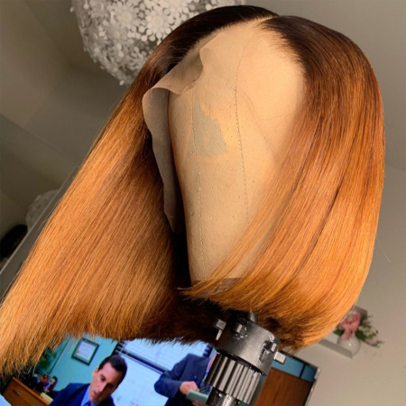 200% Density #1B/27 Colored Short Bob Straight Lace Wigs