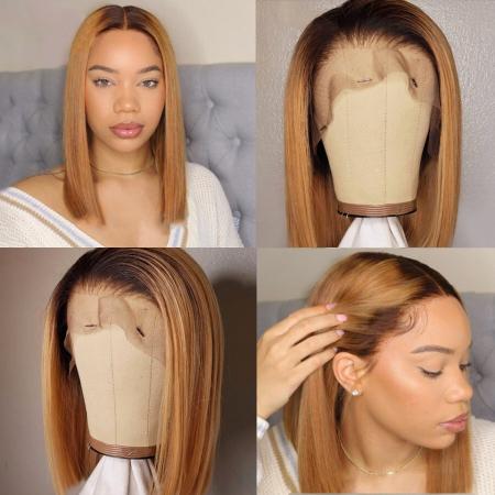 200% Density #1B/27 Short Bob Straight Lace Wigs