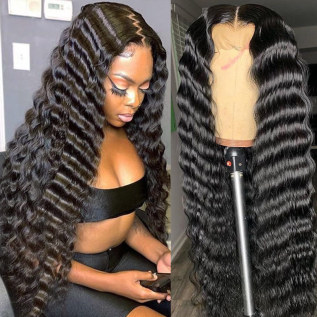 200% Density Deep Wave Black Color Lace Wigs