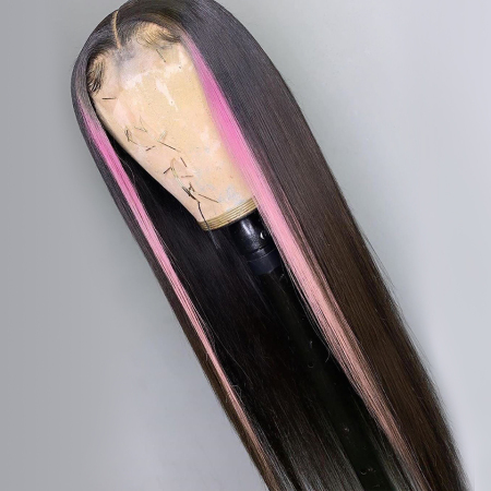 200% Density #1b Pink Color Straight Lace Wigs