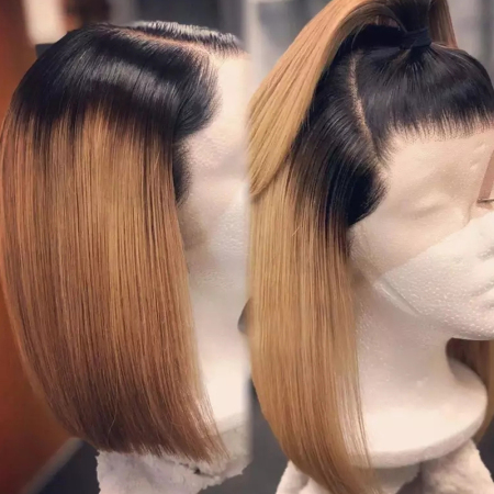 200% Density #1B/27 Short Bob Straight Lace Wigs