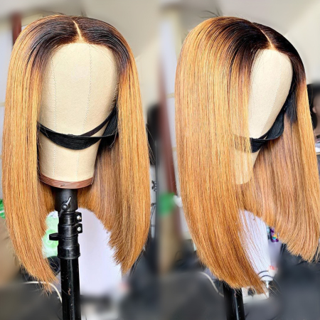 200% Density #1B/27 Bob Straight Lace Wigs