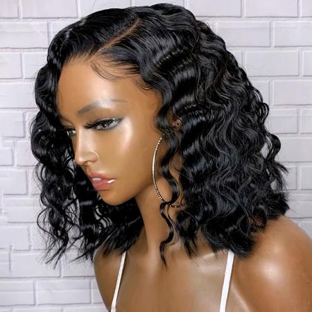 200% Density 1B Deep Wave Bob Lace Wigs