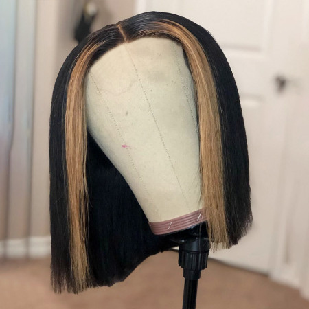 200% Density 1B/27 Short Bob Straight Lace Wigs