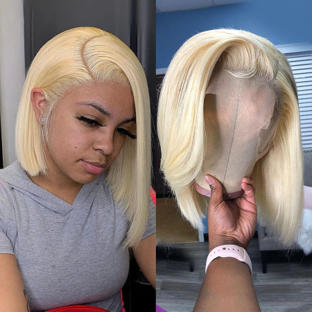200% Density #613 Blonde Short Bob Straight Lace Wigs